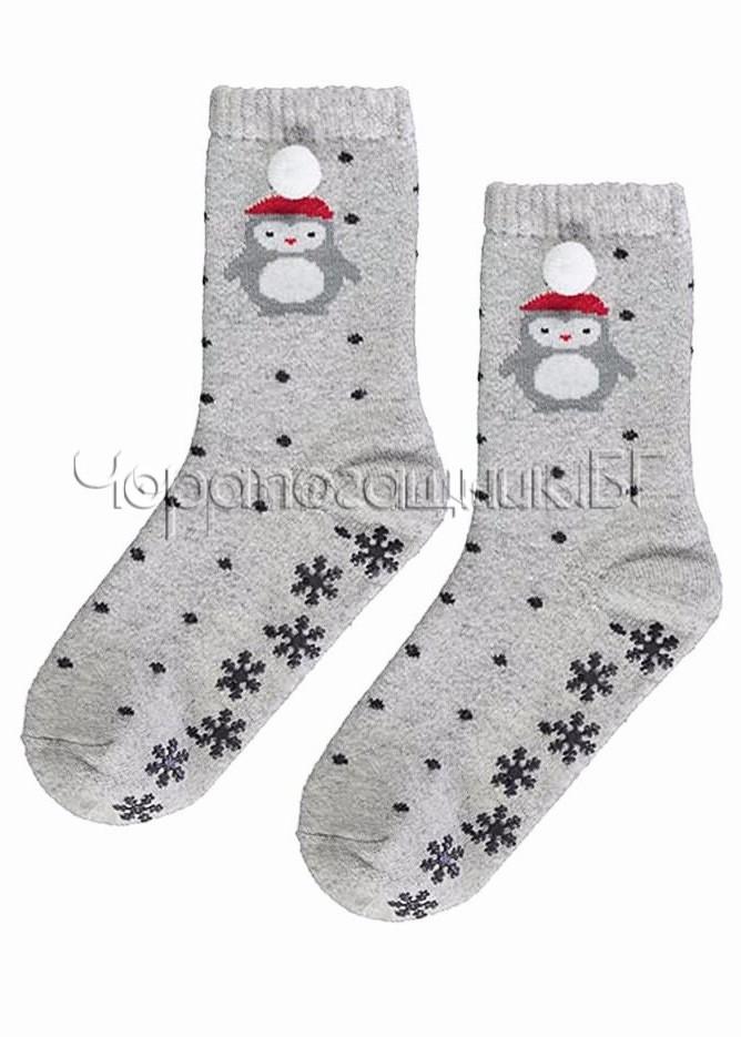 Дамски топли вълнени чорапи със стопери с пингвин и помпони Marilyn L32 в сиво от ангора