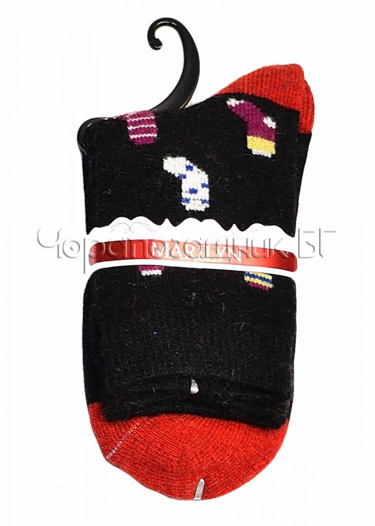 Дамски топли вълнени чорапи с ангора Marilyn J46 в черно