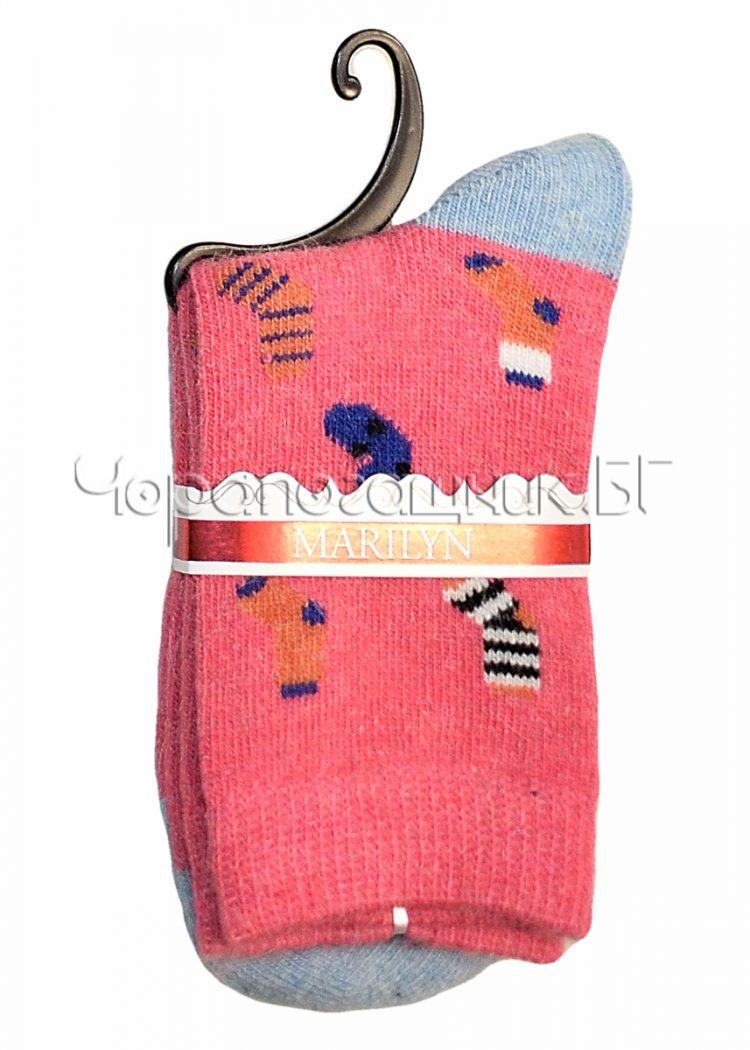 Дамски топли вълнени чорапи с ангора Marilyn J46 в розово