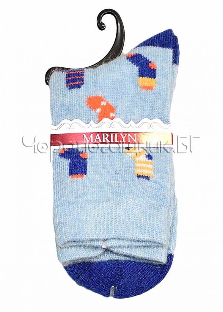 Дамски топли вълнени чорапи с ангора Marilyn J46 в синьо