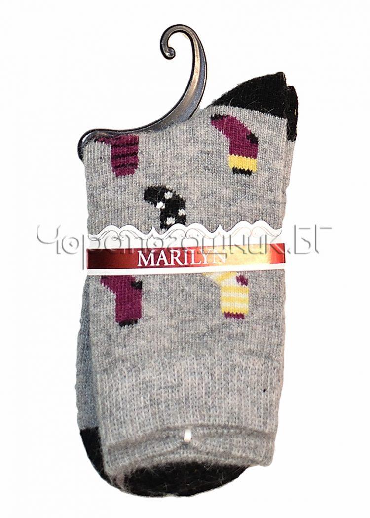 Дамски топли вълнени чорапи с ангора Marilyn J46 в сиво
