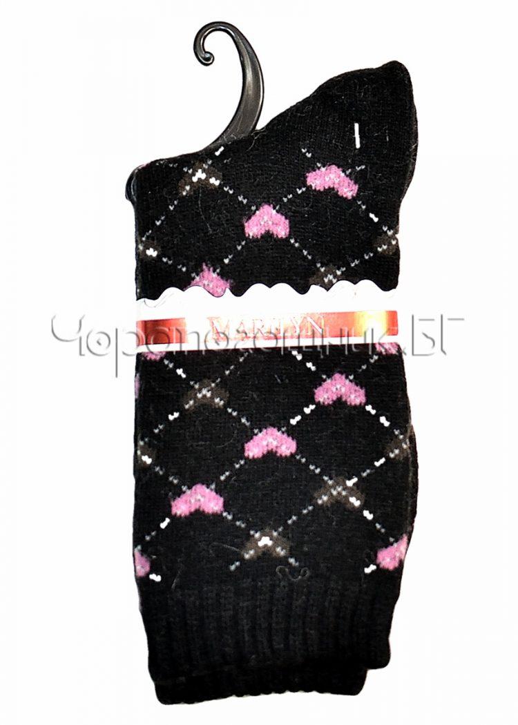 Дамски топли вълнени чорапи с ангора на сърца Marilyn E38 в черно