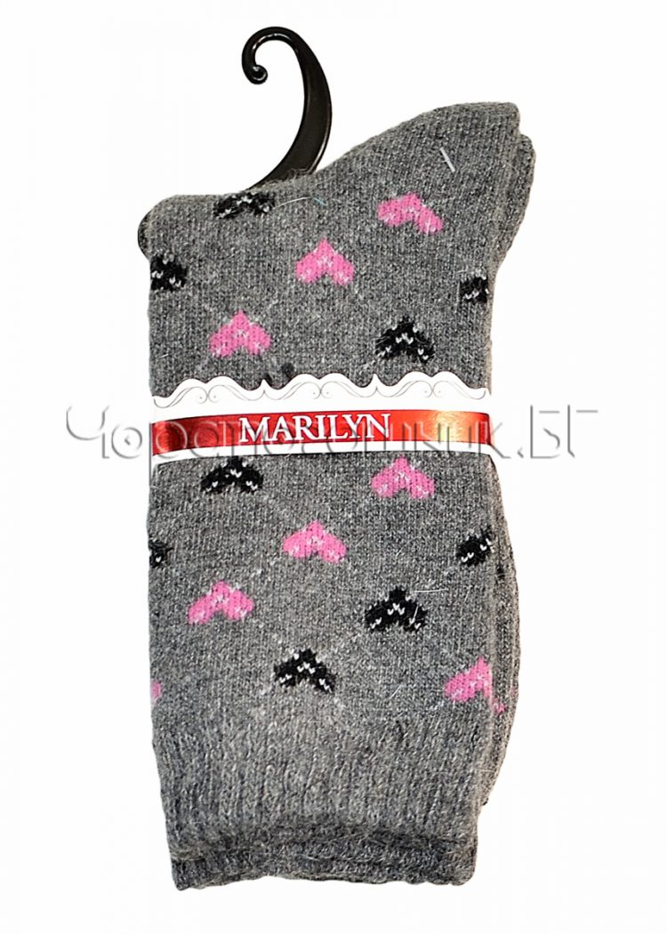Дамски топли вълнени чорапи с ангора на сърца Marilyn E38 в сиво
