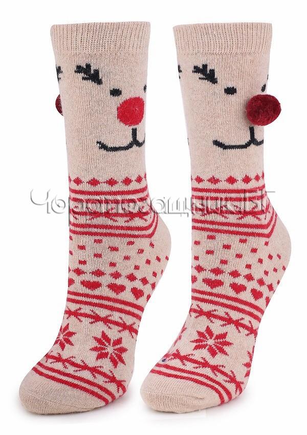 Дамски топли вълнени чорапи с коледни мотиви и помпон Marilyn N39 в бежов