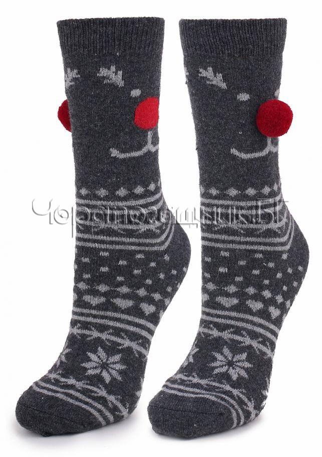 Дамски топли вълнени чорапи с коледни мотиви и помпони Marilyn N39 в черно