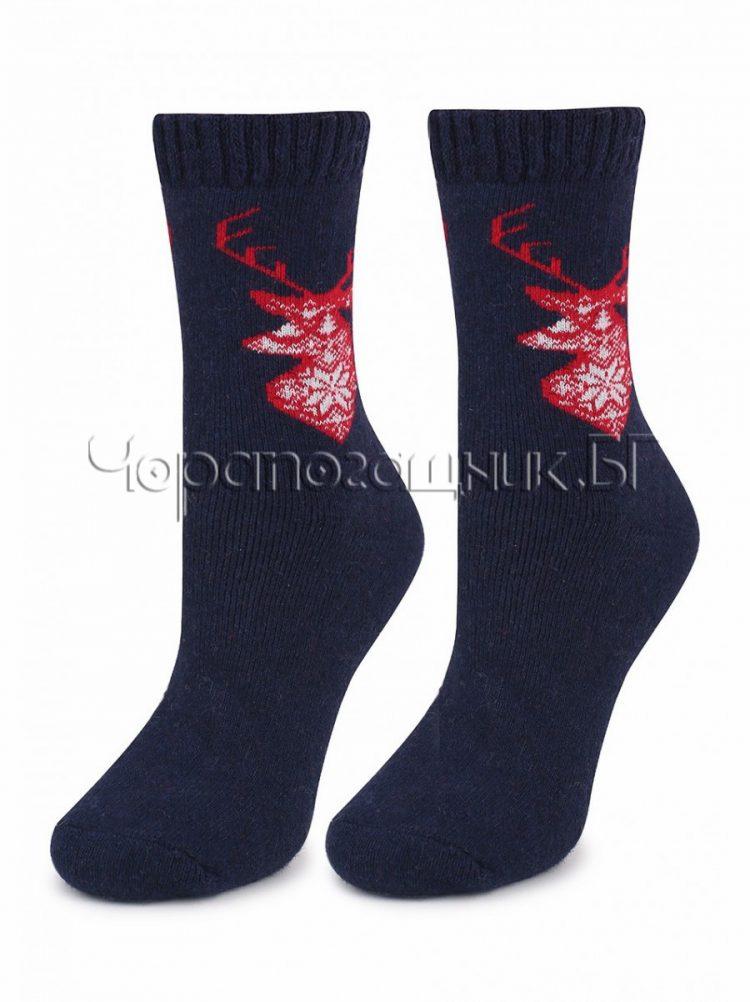 Дамски топли вълнени чорапи с коледни мотиви Marilyn 7238 в тъмно синьо