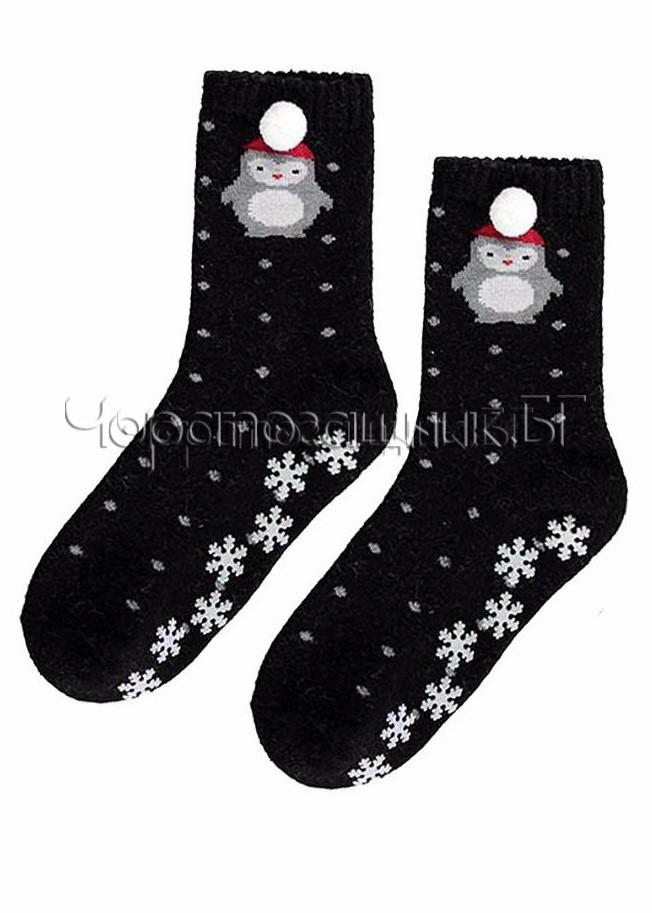 Дамски топли вълнени чорапи със стопери и пингвин с помпон Marilyn L32 в черно от ангора