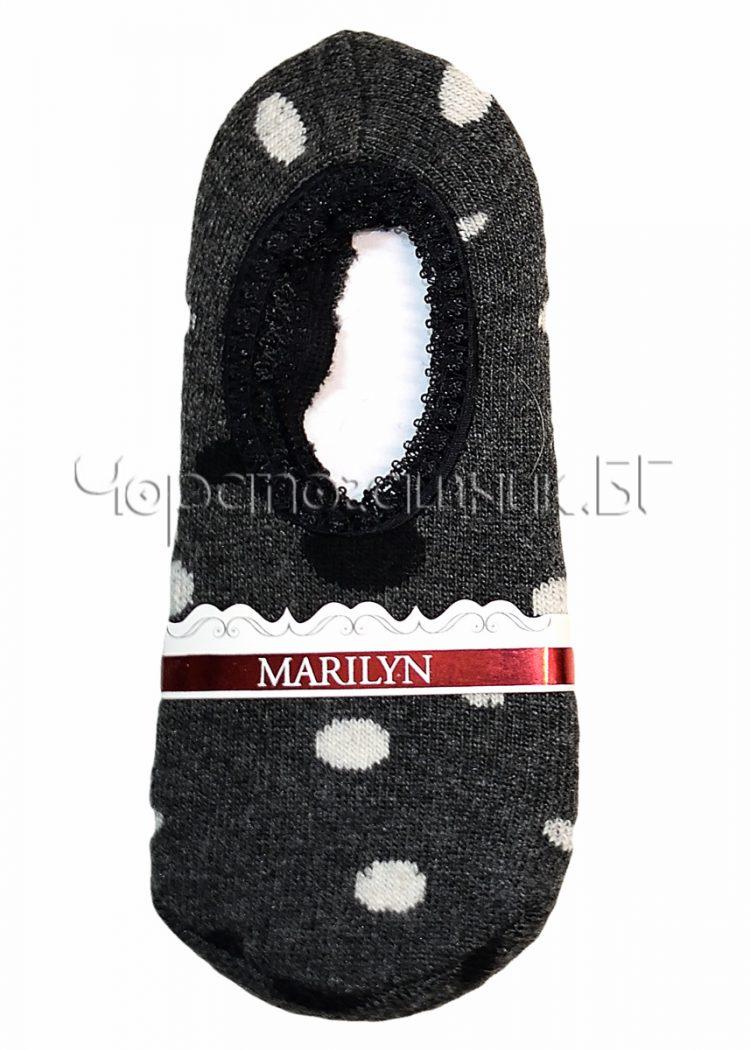 Дамски топли вълнени терлички от ангора на точки Marilyn H52 в тъмно сиво