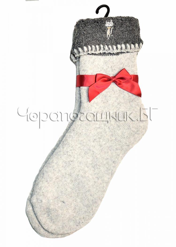 Дамски топли вълнени термо чорапи с подгъв Marilyn H69 в светло сиво
