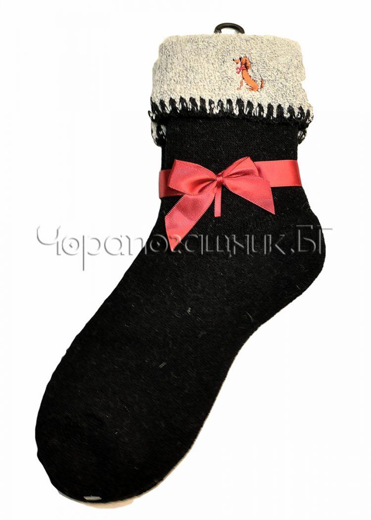 Дамски топли вълнени термо чорапи със светъл подгъв Marilyn H69 в черно