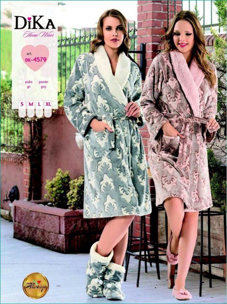 Дамски зимен къс пухкав халат от полар Dika DK 5476 с еленчета в розово