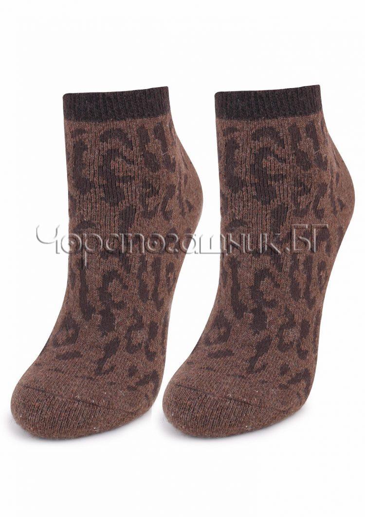 Дамски зимни вълнени чорапи с тигров принт от Marilyn E44 в кафяво