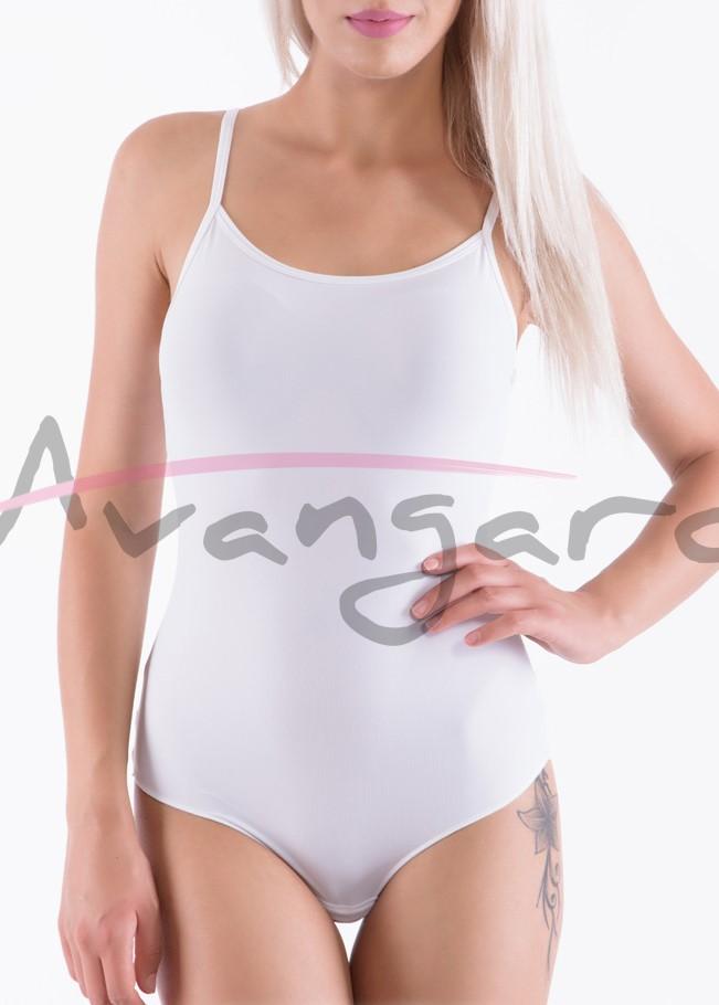 Дамско боди с тънки презрамки от микрофибър бразилиана Avangard A-205-2 бял