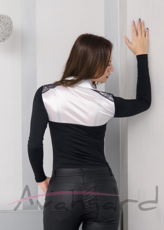 Дамско луксозно боди блуза Avangard A-224-2 от микрофибър сатен и дантела