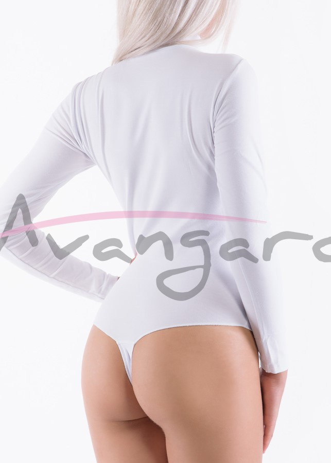 Дамско памучно боди поло с дълъг ръкав прашка Avangard A-233-2 бял