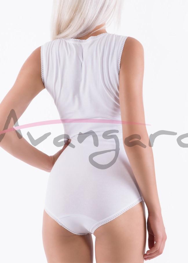 Дамско памучно боди с широки презрамки Avangard A-248-2 бял