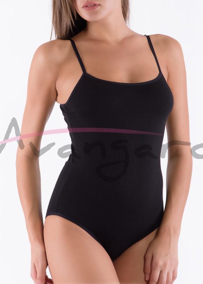 Дамско памучно боди с тънки презрамки бикини Avangard A-213-1 черен