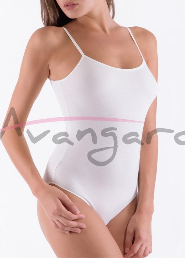 Дамско памучно боди с тънки презрамки бикини Avangard A-213-2 бял