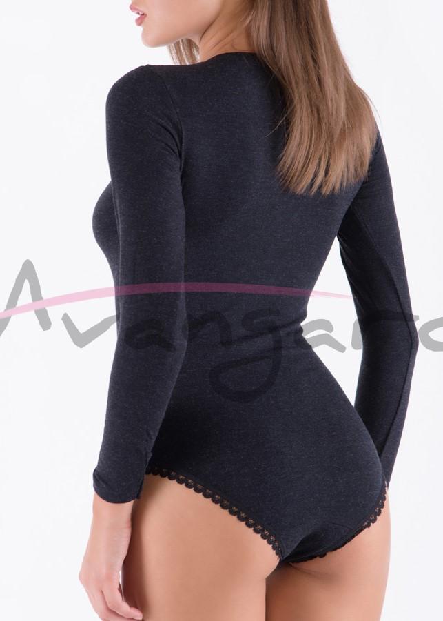 Дамско вълнено боди с деколте дълги ръкави и бикини Avangard A-291-1 черно