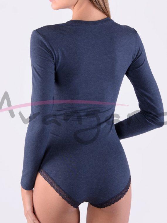 Дамско вълнено боди с деколте дълги ръкави и бикини Avangard A-291-1 тъмно сив