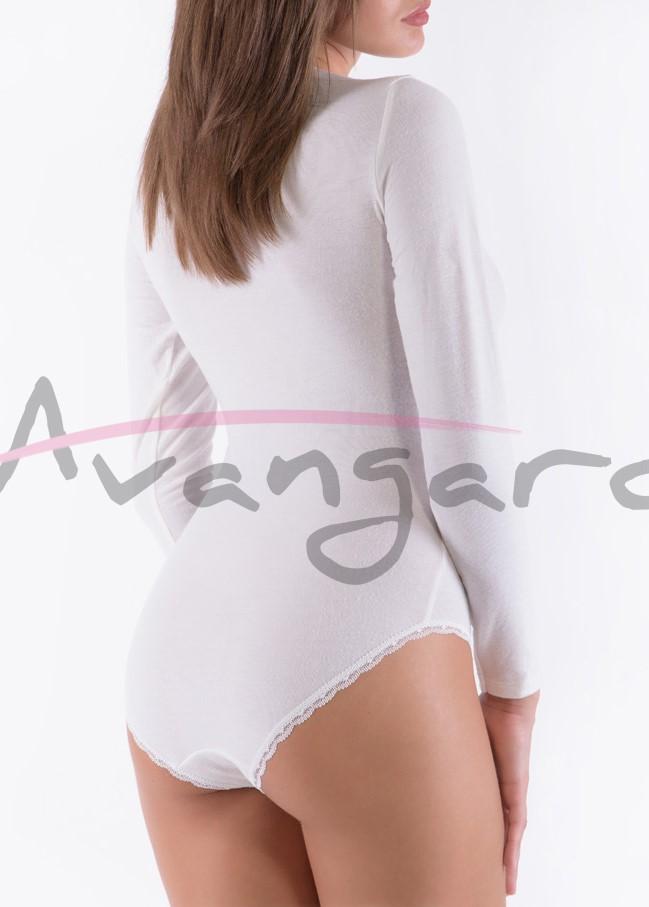 Дамско вълнено боди с деколте дълги ръкави и бикини Avangard A-291-1 екрю