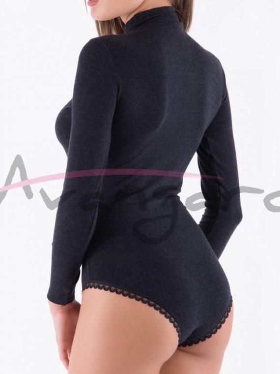 Дамско вълнено боди поло дълги ръкави и бикини Avangard A-253-1 черно