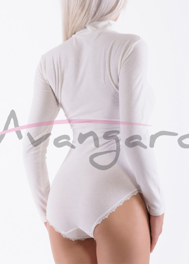 Дамско вълнено боди поло дълги ръкави и бикини Avangard A-253-3 екрю