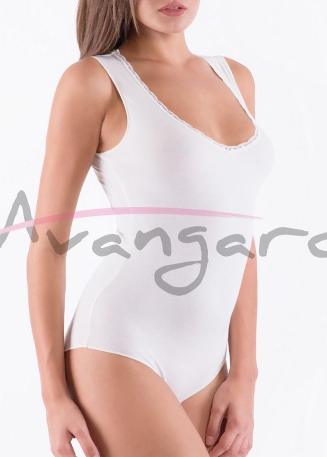 Дамско вълнено боди с широки презрамки и бикини Avangard A-258-3 екрю
