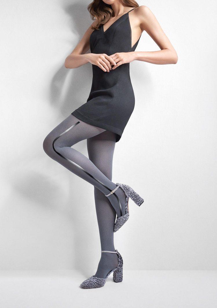 Фигурален черен чорапогащник от микрофибър с ръб Marilyn Emmy R07