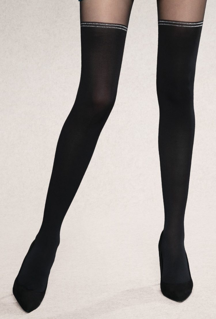 Фигурален чорапогащник имитиращ 7/8 чорапи със сребристи кантове Gatta Girl Up 33