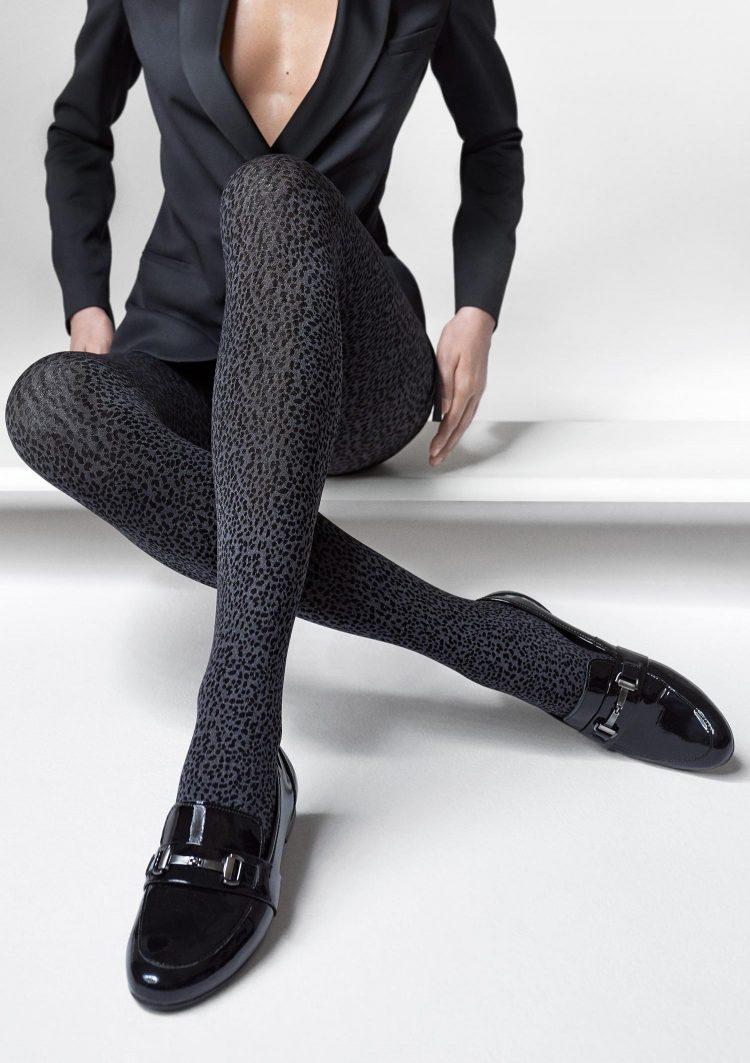 Фигурален чорапогащник с леопардов принт от микрофибър Marilyn Grace R17