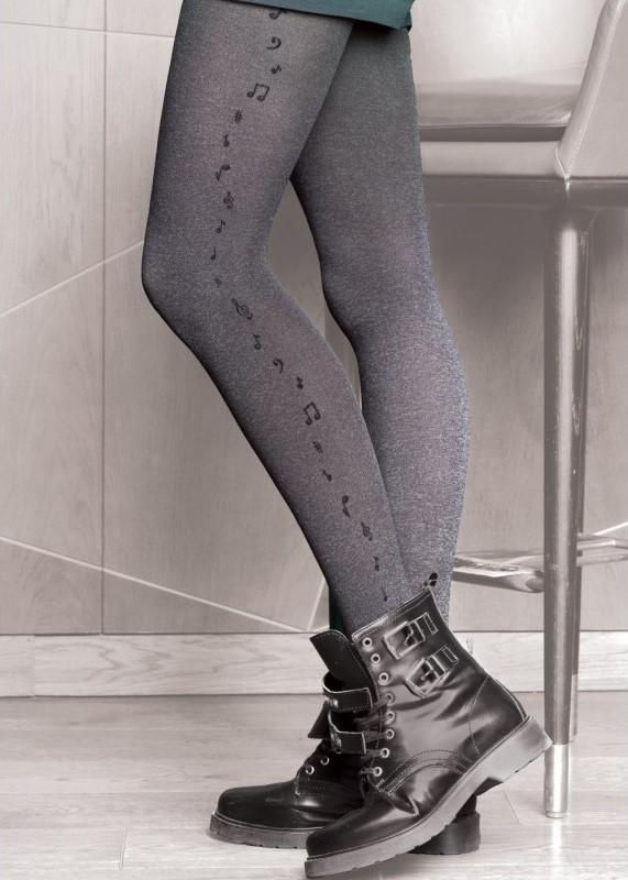 Фигурален чорапогащник с ноти в сив меланж Gatta Chic 03 60 Den