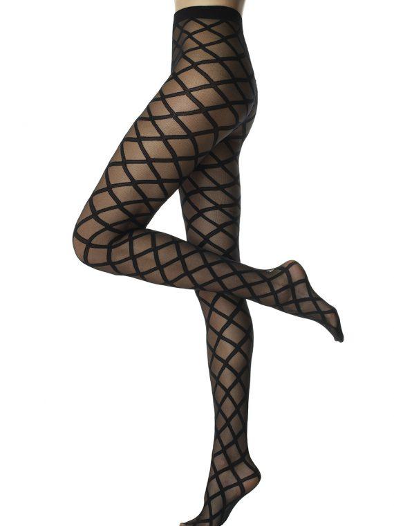 Фигурален чорапогащник с прозрачни ромбове в черно Pompea Sabina 50 Den