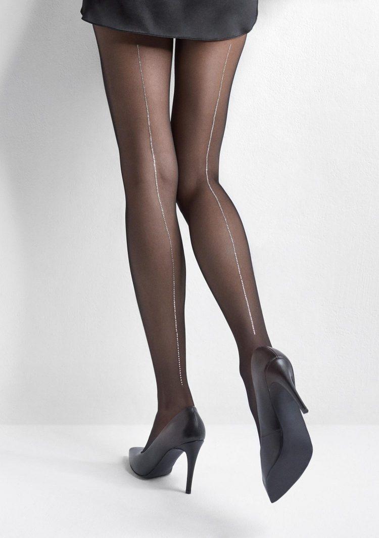 Фигурален чорапогащник с ръб от блестящи сребристи камъчета Marilyn Desire R11