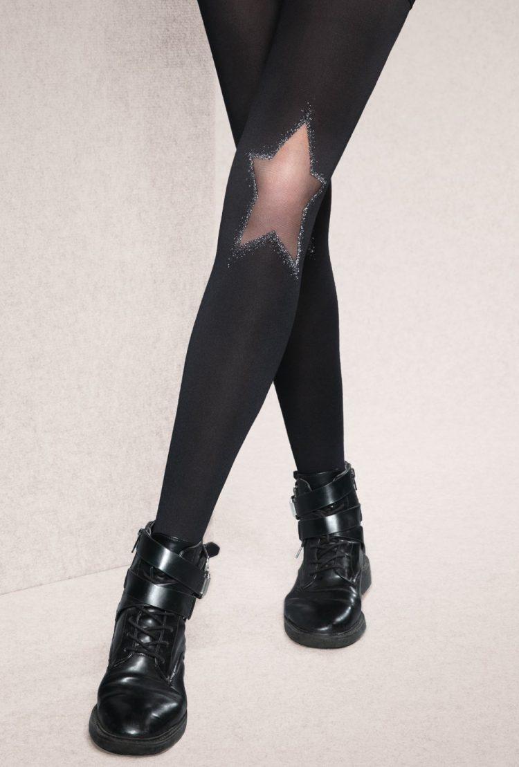 Фигурален чорапогащник със сребриста звезда Gatta Flash & Black 01