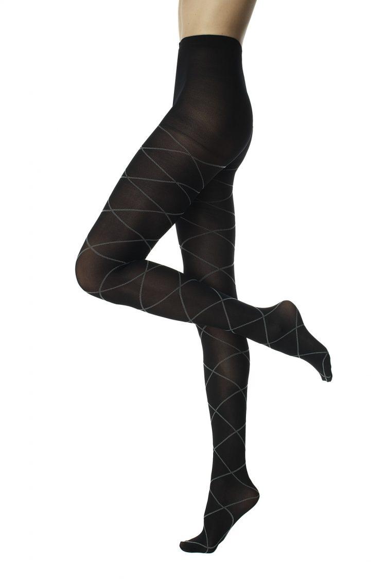 Фигурален плътен чорапогащник с ромбове в черно Pompea Veronika 50 Den