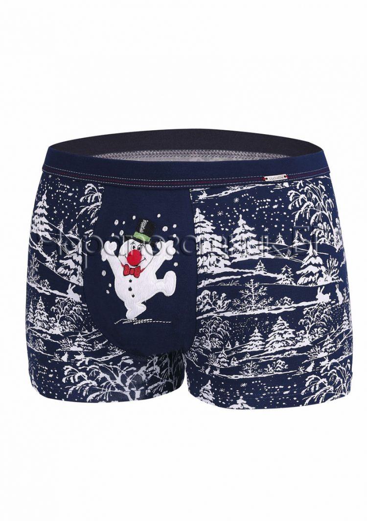 Коледни мъжки памучни боксерки в тъмно синьо на елхички със снежен човек Cornette 6465