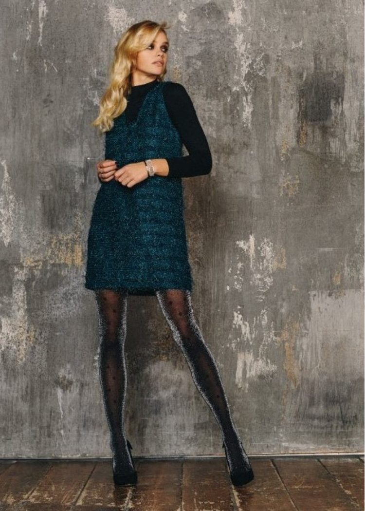Луксозен блестящ фигурален чорапогащник на точки SiSi Macro Pois
