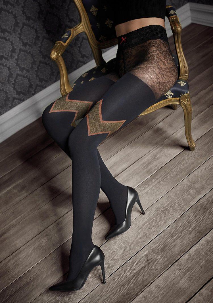 Луксозен черен фигурален чорапогащник с геометрични фигури в златисто Marilyn GUCCI G48