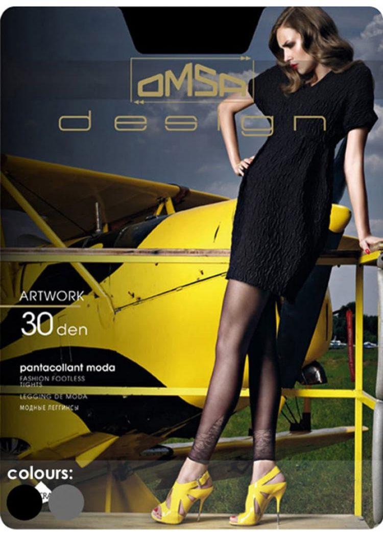 Луксозен дамски клин тип чорапогащник с ефект на дантела Omsa Artwork 30den