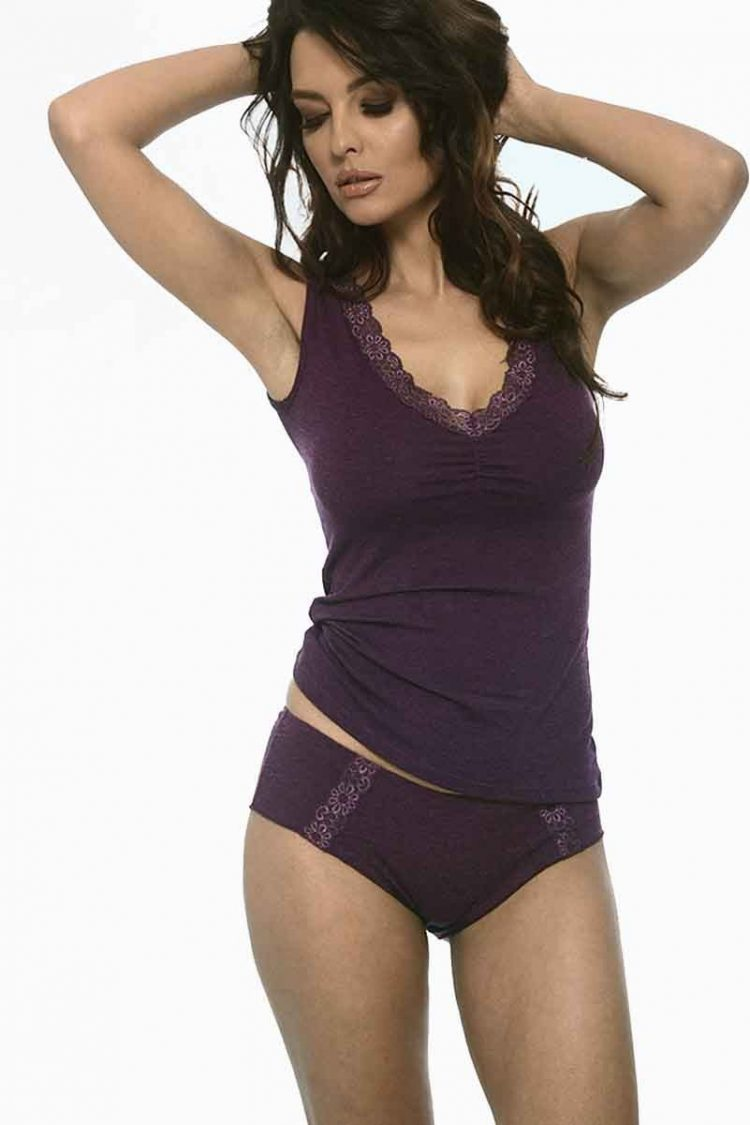 Луксозен дамски вълнен корсаж с широки презрамки и V-образно деколте с дантела New Silhouette 4768