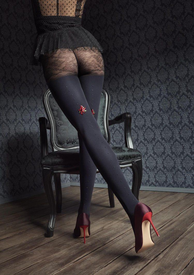 Луксозен фигурален чорапогащник с ръб от кристали и цвете Marilyn GUCCI G45