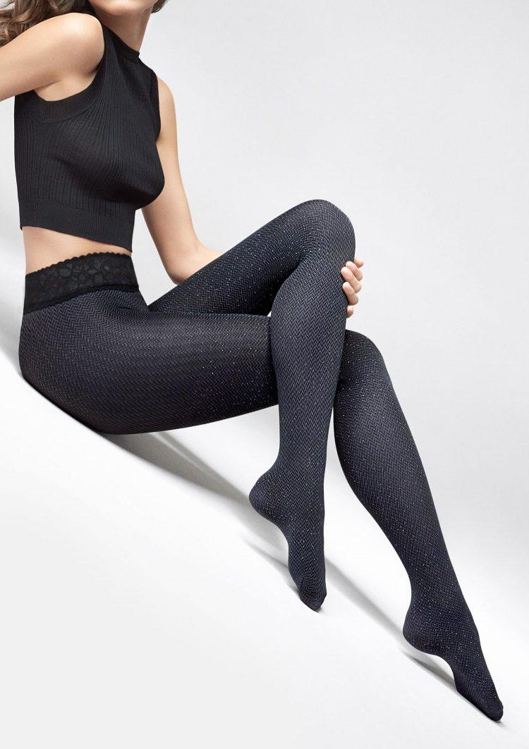 Луксозен фигурален чорапогащник със сребристи нишки тип рибена кост Marilyn Grace R03