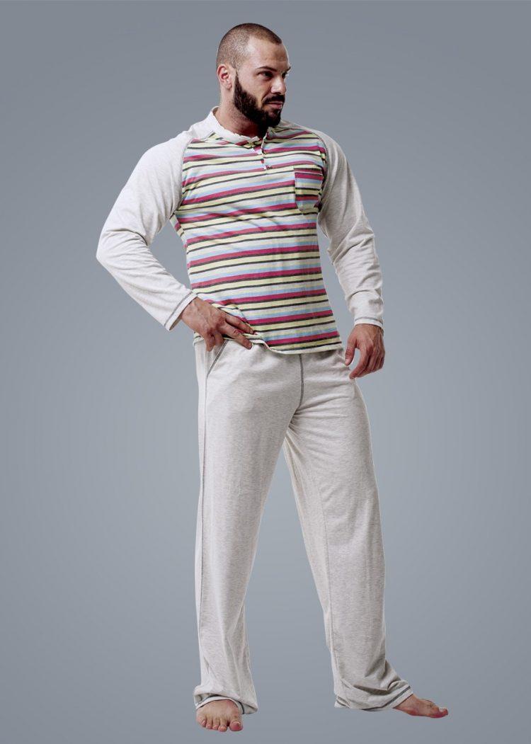 Мъжка пижама с дълъг ръкав с копчета в бежов меланж New Silhouette 6609