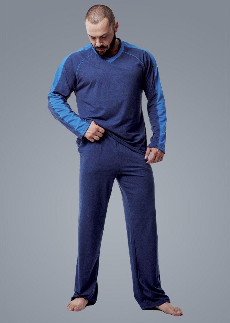 Мъжка пижама с дълъг ръкав с V-деколте New Silhouette 6107
