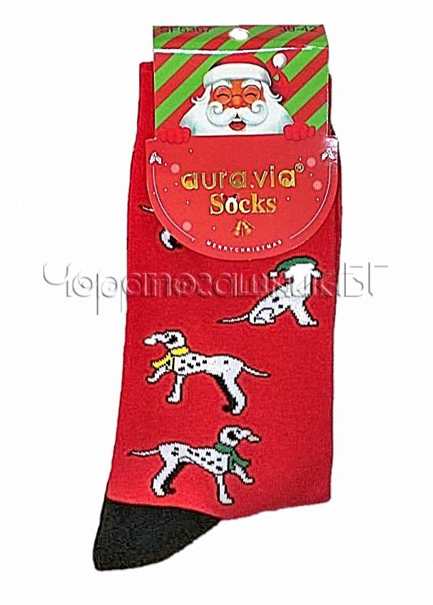 Мъжки коледни чорапи от памук с кученца Aura Via SF 5367 в червено