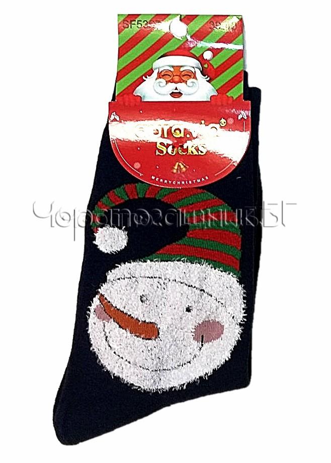 Мъжки коледни чорапи от памук със Снежен човек Aura Via SF 5367 в тъмно синьо