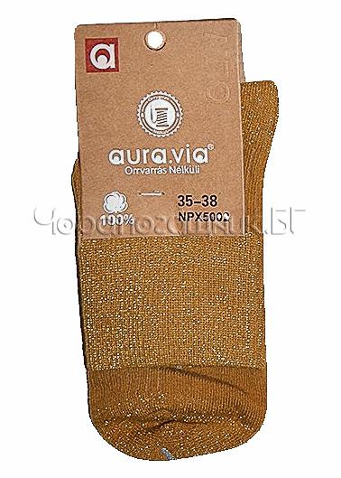 Памучни дамски къси чорапи с блестящо ламе Aura Via 7435