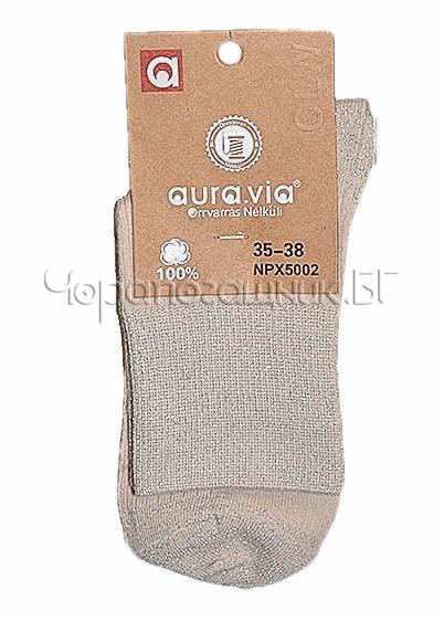 Памучни къси дамски чорапи с блестящо ламе Aura Via 7435 крем