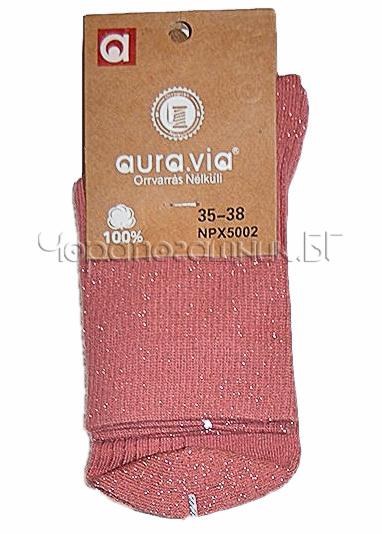 Памучни дамски къси чорапи с блестящо ламе Aura Via 7435 розов